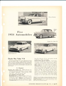 Five 1954 Automobiles Pg 1