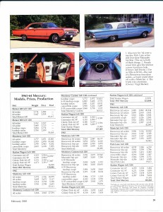 "Collectible Automobile February 2000 ""1961 - 64 Mercury: Downwardly Mobile"" Pg 12"