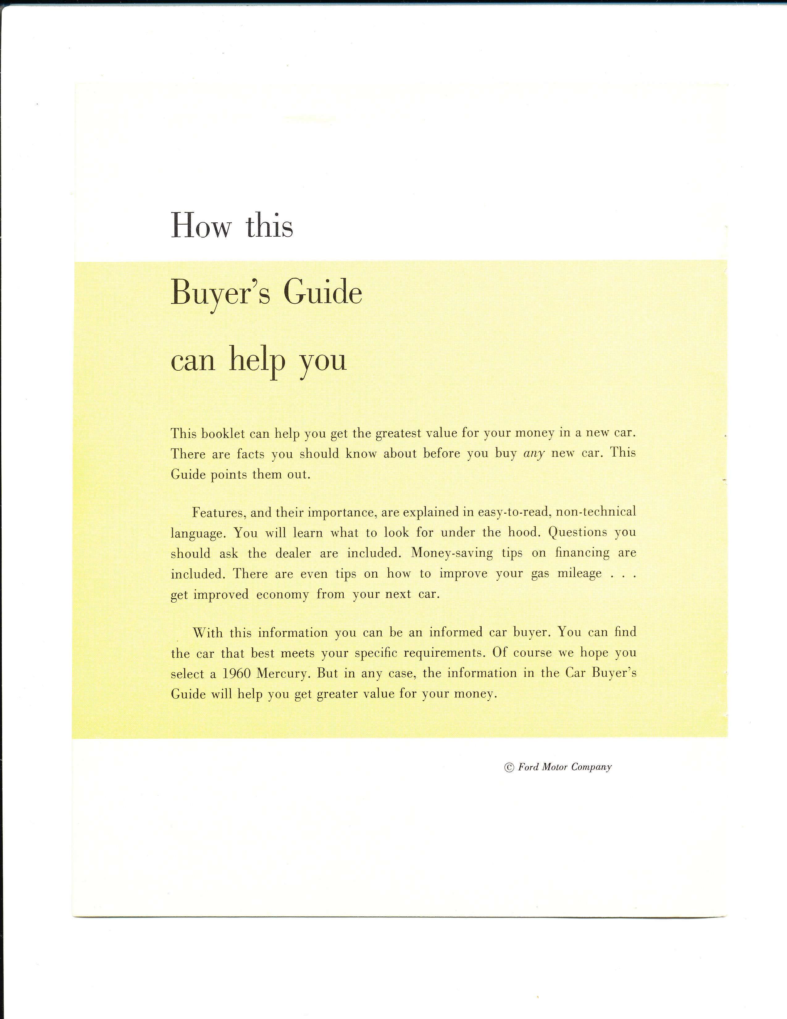 New Car Buyers' Guide – 1960 Edition | Mercury Automobile History