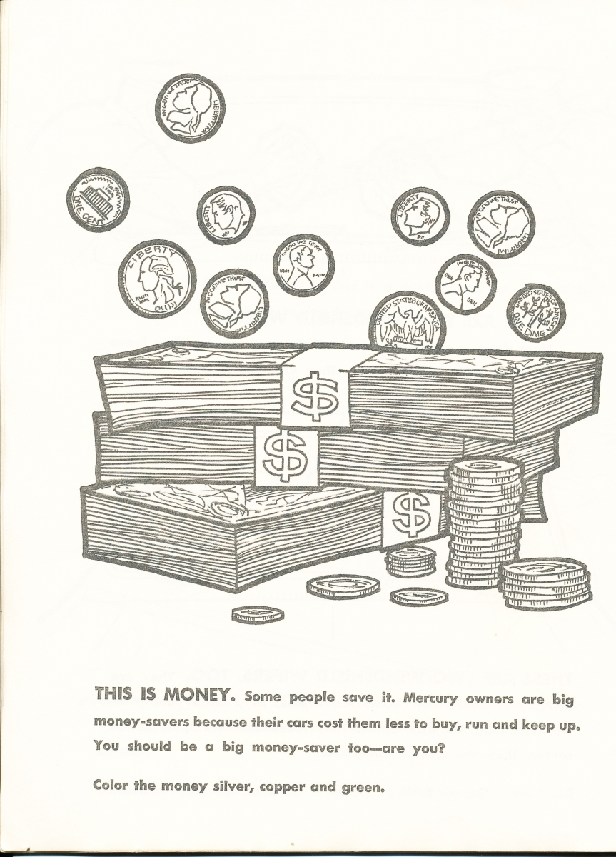 1963 car buyers coloring book