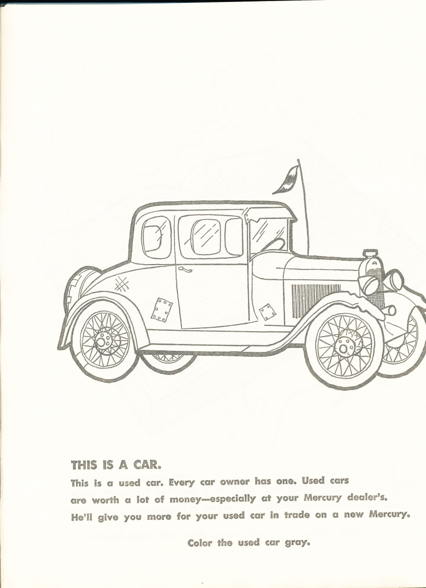 1963 Car Buyers Coloring Book | Mercury Automobile History – Super ...